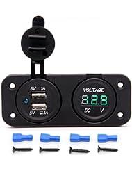 Tkstar imperméable 12V DC Voltmètre numérique + double chargeur USB prise de courant + allume cigare trois Panneau de trou pour bateau de voiture téléphone tablette pour moto, bateau, d'équitation, voiture, etc. Ju-c2