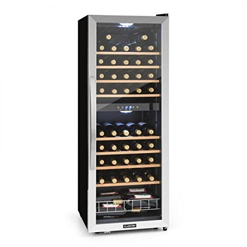 KLARSTEIN Vinamour 54D • DK2 • Cantinetta Vini • Frigofero Vini • Classe B • Due Zone Raffreddamento • 54 Bottiglie • 8 Ripiani Removibili • 32dB • 148 Litri • Controllo Touch • Acciaio&Vetro