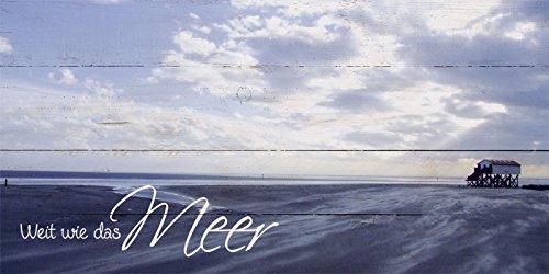 Artland Wand-Bild geweißtes Holz-Bild digital bedruckt mit Motiv Jule St. Peter-Ording Statement Bilder Sprüche & Texte Fotografie Blau 50 x 100 x 4,2 cm D1GT