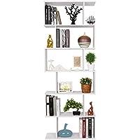 HOMFA Estantería librería 6 Estantes Estantería Pared  Estantería Libros de diseño Blanco 70x23.5x190cm