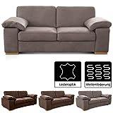 Cavadore 3-Sitzer Sofa Ventere / Kunstledercouch im modernen Design / 200 x 86 x 100 cm (BxHxT) / Hellbraun