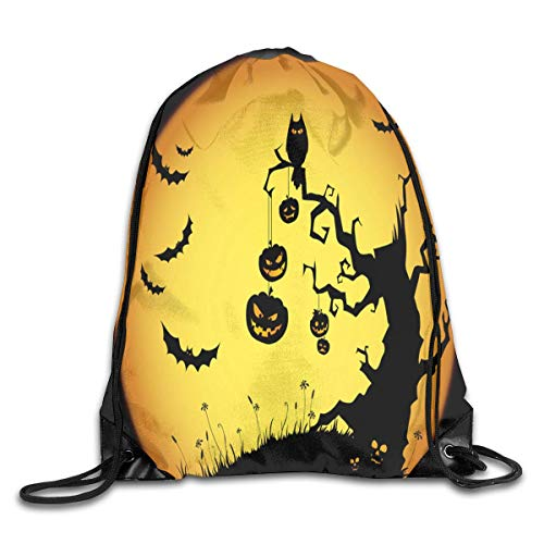 uykjuykj Tunnelzug Rucksäcke, Drawstring Bag Halloween Pumpkin Devil Night Gym Hiking Travel Hot Color 07 Lightweight Unique 17x14 IN (Halloween Quiz Night)