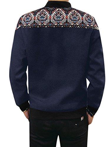 Hommes Col Montant Imprimé Floral Design Panneau Fermeture Éclair À L'avant Laine Peignée Veste Bleu