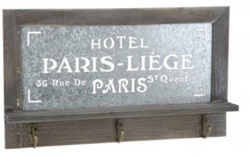 Quantio Holz Schlüsselbrett Paris - Garderobe mit 3 Haken - Brett mit Ablage - Schlüsselablage BZW. Handy-Ablage - Hakenleiste