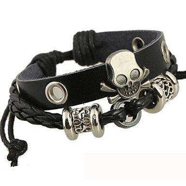 Il braccialetto di cuoio in rilievo del cranio , silver-black-one size , silver-black-one size - Sterling D'oro In Rilievo Bracciali