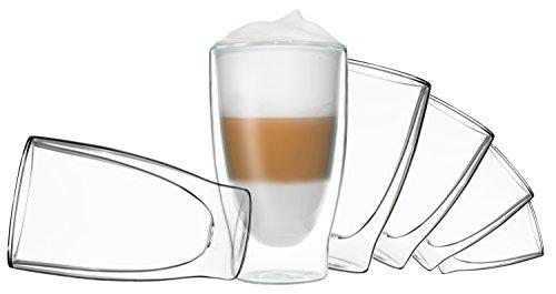 DUOS 6 x 400ml doppelwandige Gläser Cocktail Thermogläser - Set mit Schwebe-Effekt, Auch für Latte Macchiato, Cappuchino, Tee, Eistee, Säfte, Wasser, Cola, Cocktails Geeignet, by Feelino …