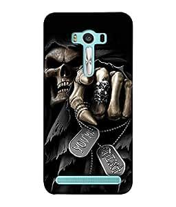 PrintVisa Designer Back Case Cover for Asus Zenfone 2 Laser ZE500KL (5 inches) (Horrific Halloween Skeleton Abstract Illustration Evil Message)