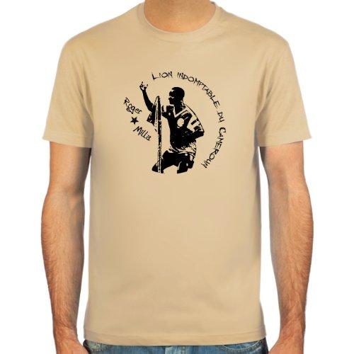 SpielRaum T-Shirt Roger Milla ::: Farbauswahl: skyblue, sand, weiß oder deepred ::: Größen: S-XXL ::: Fußball-Kult Deep Red