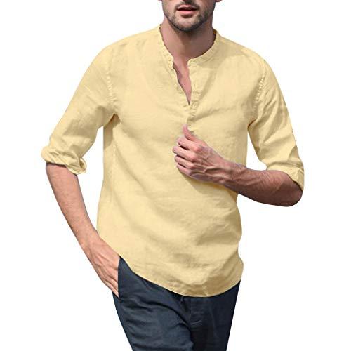 Yazidan Herren Baumwolle Stehkragen Hemd Langarmshirt Leinenhemd Slim fit Hemden mit Knopfleiste Männer Casual Henley Shirt