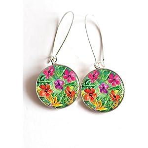 Ohrringe cabochon Blumen des iles, die sind hybiscus, tropisch