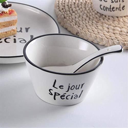 che englische Keramikschale Reisschale Suppenlöffel Restaurant dreiteilige Hot Pot Shop Knochenteller schräge Seitenschale 4,5 Zoll ()