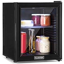 Klarstein Brooklyn 32L Réfrigérateur avec porte en verre - Mini-réfrigérateur, Mini-bar, 32 L, 0 dB, 12-15°C, Etagère en plastique, Éclairage LED, Noir