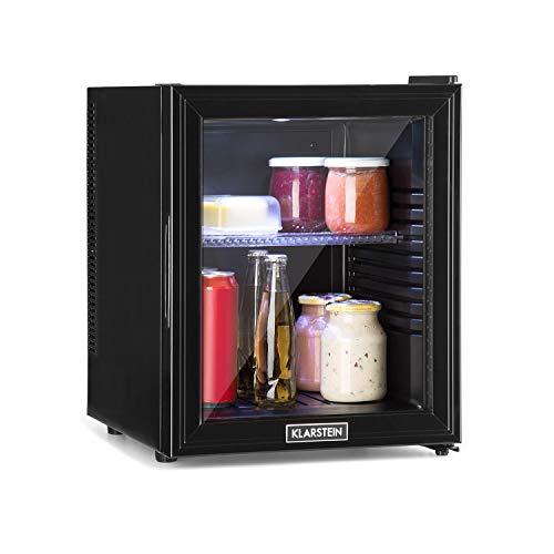 klarstein brooklyn 32l - mini frigo, mini bar, porta in vetro, 0 db, 12-15 ° c, ripiano in plastica, illuminazione interna, per abitazioni singole e piccole, nero