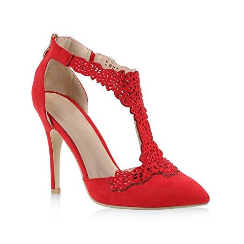 Stiefelparadies Damen Schnürpumps Cut-Outs Leder-Optik Stilettos Pumps Schuhe 116931 Rot Strass 37 Flandell