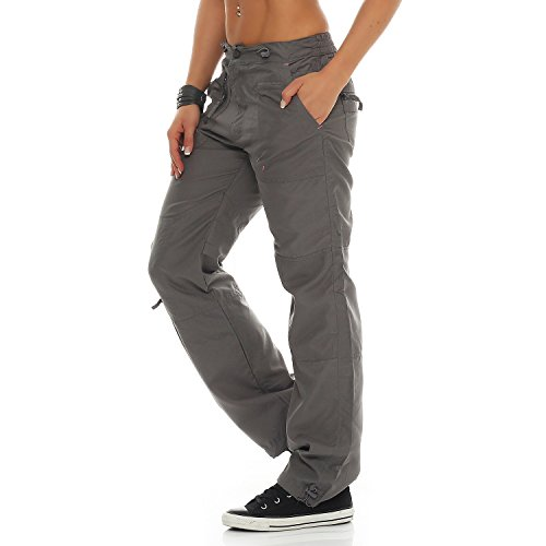 SUCCESS Damen Cargo Hose Casual Wear Chino Stoff Hose 5 Pocket Regular Fit Freizeithose 3301-3302 02-Hellgrau