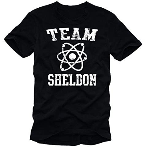 Coole-Fun-T-Shirts T-Shirt Team Sheldon - Big Bang Theory ! Vintage, schwarz weiß, XXL