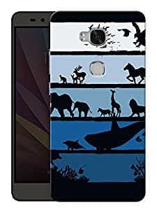 "Humor Gang Elephants And Whales Printed Designer Mobile Back Cover For ""Huawei Honor 5X"" (3D, Matte Finish, Premium Quality, Protective Snap On Slim Hard Phone Case, Multi Color)"