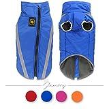 Hundemantel Hundebekleidung Hundejacke Haustier Winter wasserdicht Jacken reflektierend warm Farbe Größe wählbar (XXL, Blau)