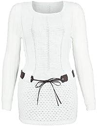 AO Carmen Robe Pull Tricote Manches longues - modèle plus long