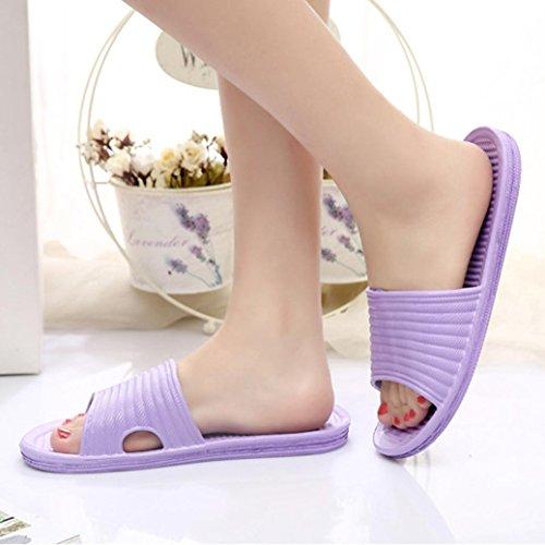 Tongs pour Femme,irina Pantoufles de bain à rayures féminines Sandales d'été Chaussons d'intérieur et d'extérieur Violet