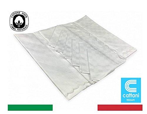 Nappe blanche FIANDRA 100% coton – cm. 140 x 240 X12 personnes + 12 Serviettes