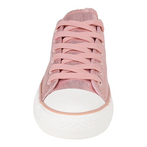 Damen Schuhe Sneakers | Turnschuhe Freizeitschuhe | Low Sneaker | Übergrößen | Prints Glitzer Denim Rosa Camiri
