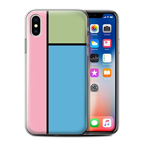 Stuff4 Gel TPU Hülle / Case für Apple iPhone X/10 / 3 Fliesen/Rosa Muster / Pastell Fliesen Kollektion 3 Fliesen/Blau