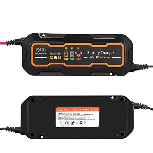 Caricabatteria per auto e moto 6V / 12V caricabatterie 5A per AGM, gel, VRLA, batteria al piombo acido sigillata
