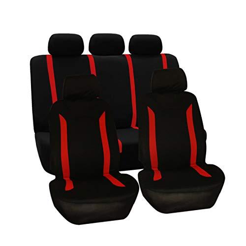 GODGETS Universale Poliestere Set Coprisedili per Auto, Avanzato Cuscino del Seggiolino Auto per Anteriori e Posteriori 5 posti,Nero Rosso,2 * Seater Anteriore + 3 * Seater Posterio