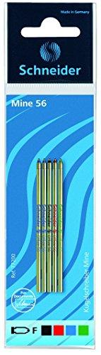 Schneider Schreibgeräte Mehrfarb-Kugelschreibermine Office 56, F, schwarz, rot, blau, grün 5er SB-Beutel