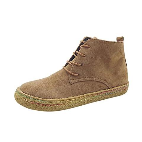 Femmes Chaussures, Malloom Dames Douche plate souple Chaussures Martin Bottes femme en daim en dentelle en dentelle  (EU:39, Marron)