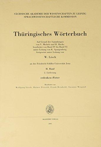 Thüringisches Wörterbuch, Bd.2 : 2. Lieferung (erdenken-Fieter): BD II /Lfg 2