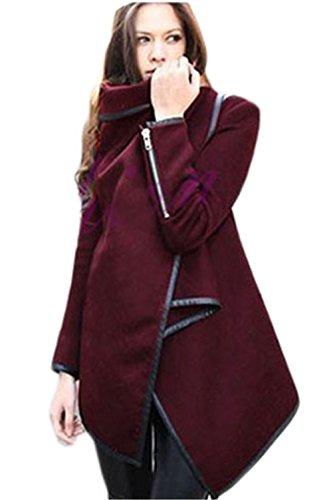 Damen elegante Revers Slim Fit Unregelmäßige Lange Wolle Kapwolljacke Trenchcoat Wein