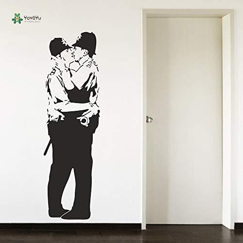 zaosan Wandtattoo Wohnzimmer Schlafzimmer Wandaufkleber Banksy Snog Kissing Cops Flur Schwarz Vinyl Art Repetable 35X115cm