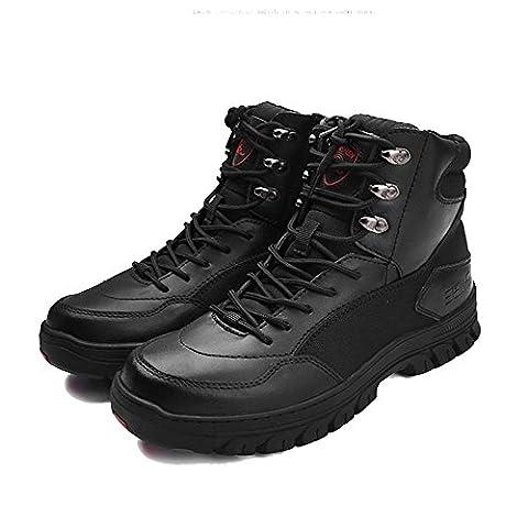 qiangren 3515Combat Leder Stiefel Military Tactical Schuhe, schwarz - schwarz