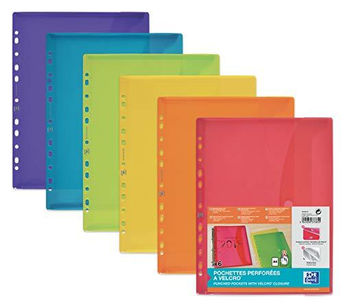 Oxford 400099574 Dokumenten-Mappe zum Abheften DIN A4 mit Klett-Verschluss und Eurolochung 6er Pack Brief-Taschen aus Kunststoff durchsichtig farbig sortiert - Ordner-verschluss Brief Größe
