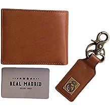 Cartera Real Madrid Premium Piel - y Llavero Anillo - Juego de 2 piezas - Color Marrón Claro RMJ-80012