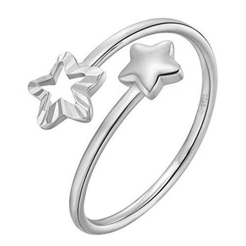 YIXUYU Ring Damen Silber 925 Stern Größe Verstellbar 52(16.6)-57(18.1) Weißvergoldung -