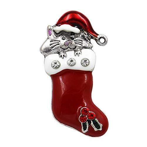 ZHENZHIA Brosche Emaille Santa Baum Weihnachten Geschenke Jingle Bell Stiefel n Charme Kristall