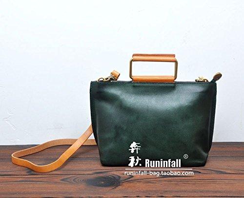 Fermeture à glissière simple vintage original sac en bandoulière sac bandoulière en cuir petit paquet Dark Green