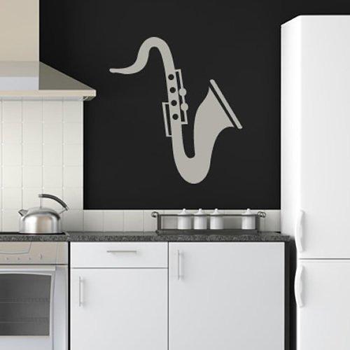 Saxophon-drucken-Wandsticker-Wandtattoo-Musical-Kunst-verfgbar-in-5-Gren-und-25-Farben-Extragro-Hellorange