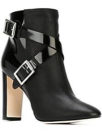 SONGYUNYANEuropea lacado a mate costura banda Cruz gruesa oficina de puntiagudos de cuero con botas de hebilla de metal moda mujeres , black , 44