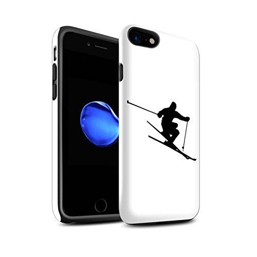 STUFF4 Matte Harten Stoßfest Hülle / Case für Apple iPhone 8 / Corduroy Spuren Muster / Skifahren/Snowboard Kollektion Extrem Sport