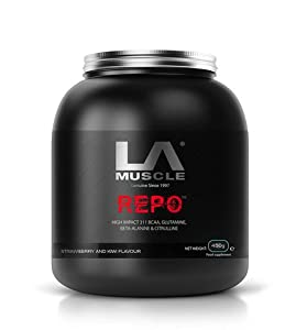 LA Muscle REPO Pre, Intra and Post-Workout Supplement 450g. BCAAs, Glutamine, Citrulline, Beta-Alanine, Vitamin B6, Pharma Grade Delicious Strawberry & Kiwi flavour Instant mixing, increases pumps naturally, rapid uptake - 45 servings. Lifetime Guarantee,