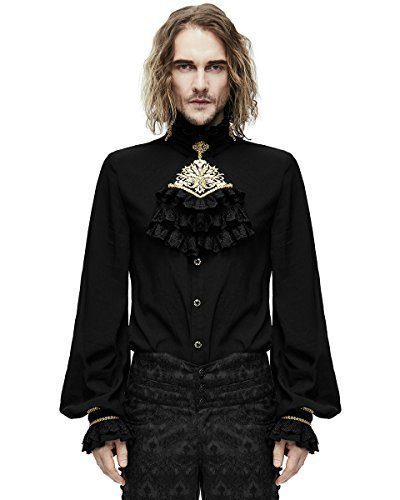 Devil Fashion Mens-Gotik Hemd & Krawatte schwarz Gold Steampunk Aristocrat - Schwarz, X-Large
