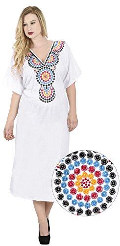 La Leela rayonne douce robe poncho femmes plage camouflage chemise caftan plage, ainsi Blanc