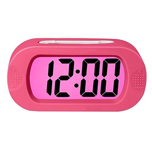 Ho Clock Digital Wecker Bunte Licht Mit Snooze Einfache Einstellung Alarm Progressive Batterie Stoßfest Ideal Wecker Kind Nachttisch,Pink