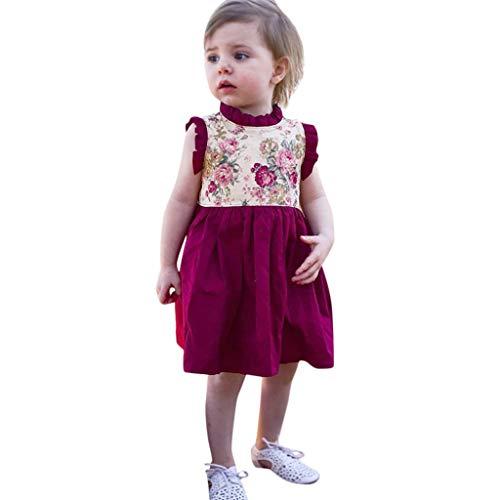 Tyoby kinderkleidung Mädchen Kleid Blumenrock Baby Mädchen Verspielt und süß Prinzessin Kleid(rot,80)