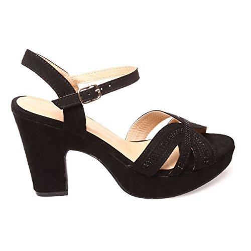 La Modeuse Sandales en Suédine Femme Noir