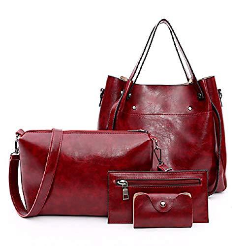 WODENINEK Women 's Zipper/Flush Packaging pu (Polyurethane) Pure Four Package, Rouge -